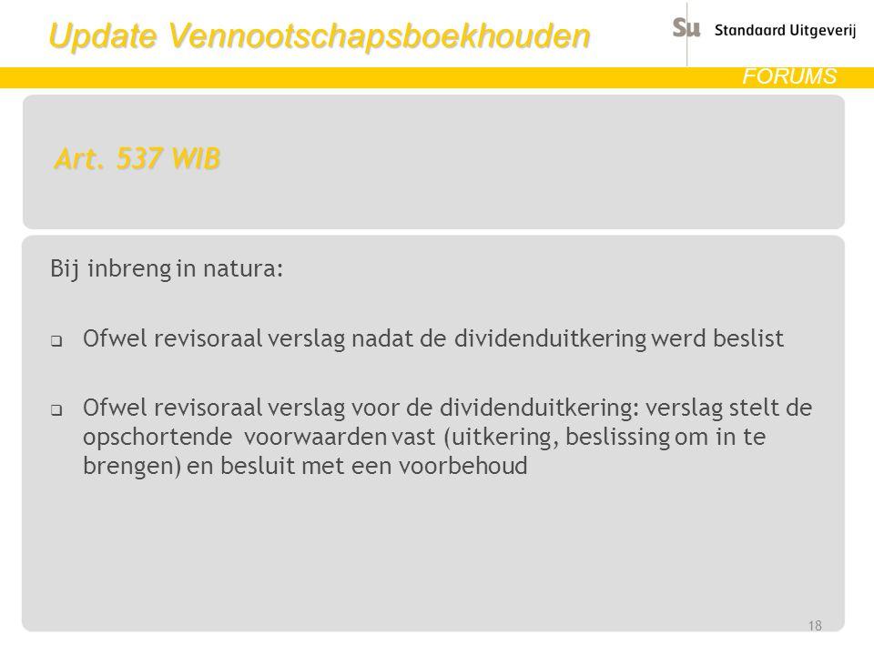 Art. 537 WIB Bij inbreng in natura: