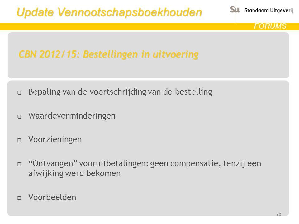 CBN 2012/15: Bestellingen in uitvoering