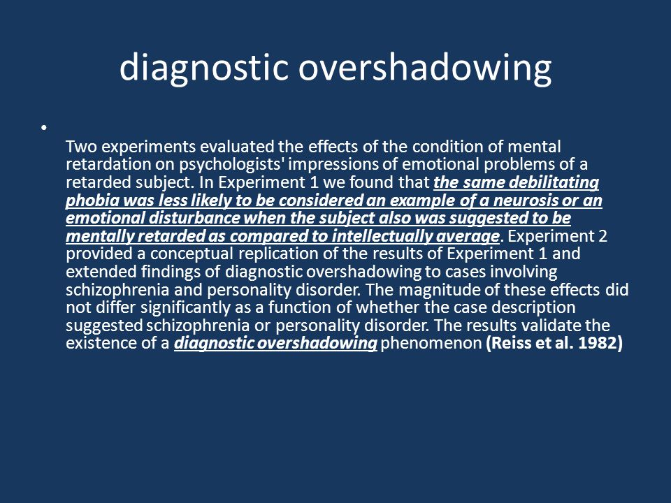 diagnostic overshadowing