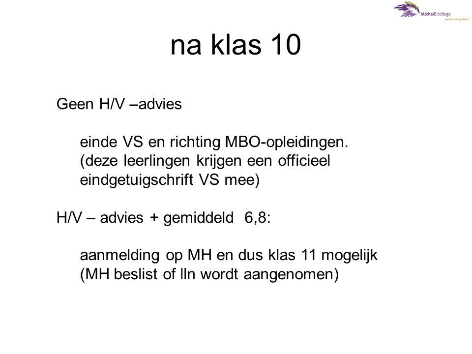 na klas 10 Geen H/V –advies