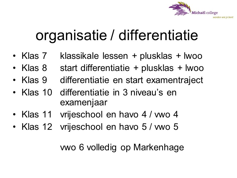 organisatie / differentiatie