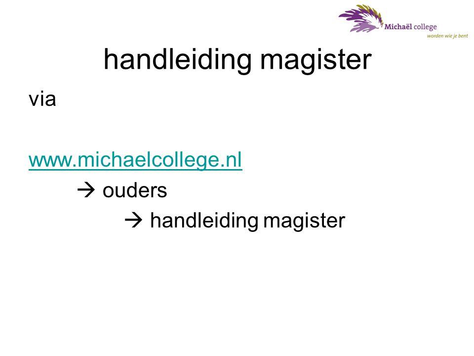 handleiding magister via www.michaelcollege.nl  ouders