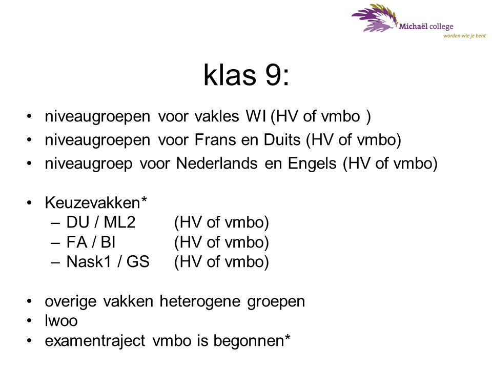 klas 9: niveaugroepen voor vakles WI (HV of vmbo )