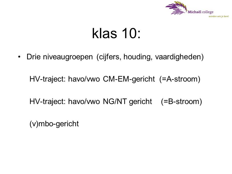 klas 10: Drie niveaugroepen (cijfers, houding, vaardigheden)