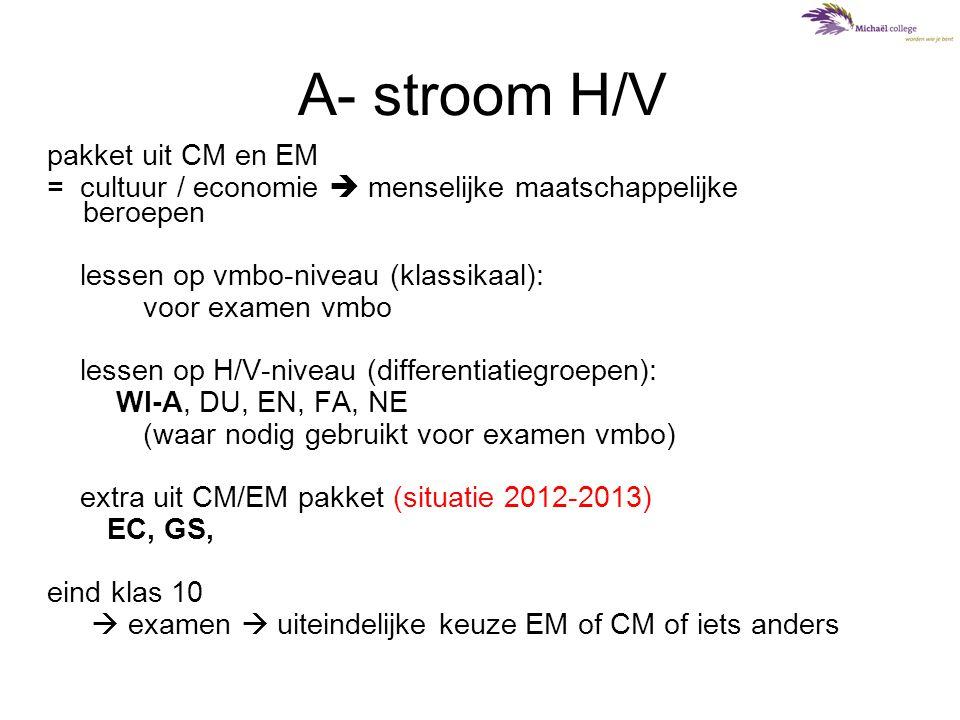 A- stroom H/V pakket uit CM en EM