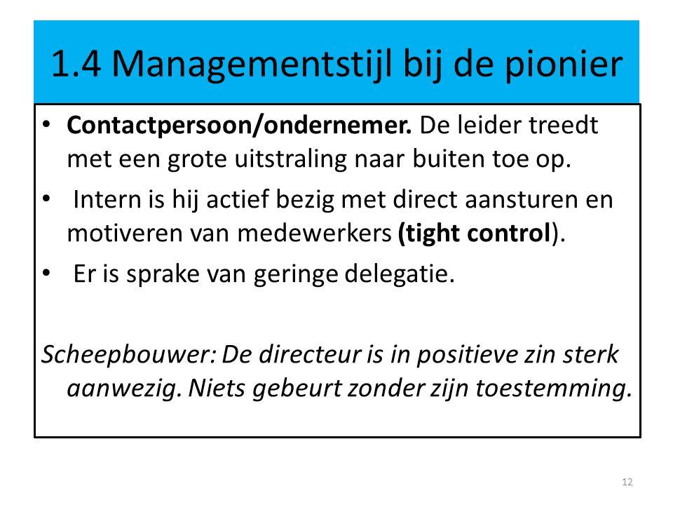 1.4 Managementstijl bij de pionier
