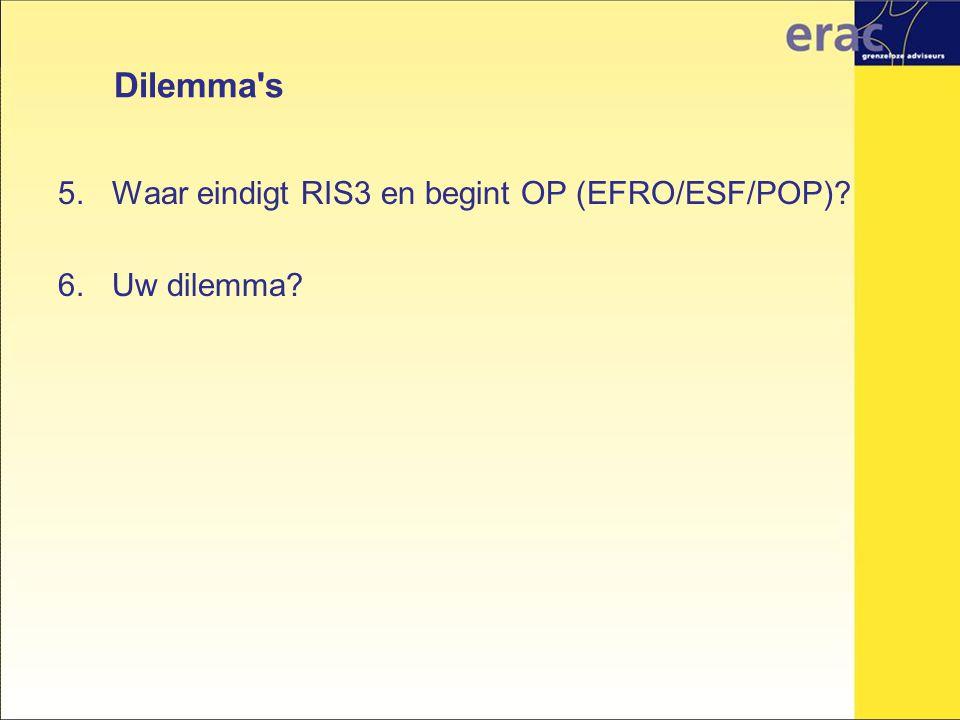 Dilemma s Waar eindigt RIS3 en begint OP (EFRO/ESF/POP) Uw dilemma
