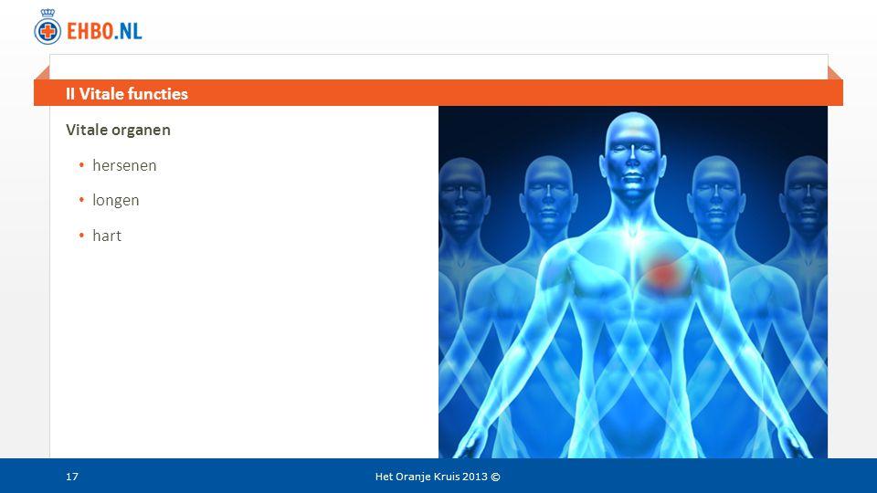 II Vitale functies Vitale organen hersenen longen hart