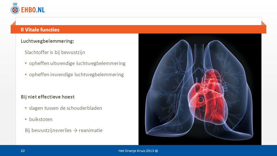 II Vitale functies Luchtwegbelemmering: Slachtoffer is bij bewustzijn