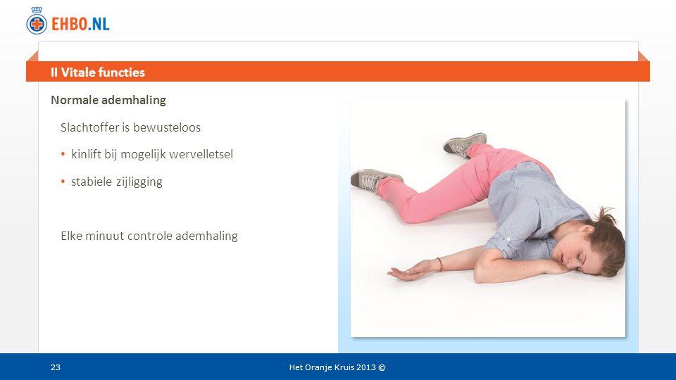 II Vitale functies Normale ademhaling Slachtoffer is bewusteloos