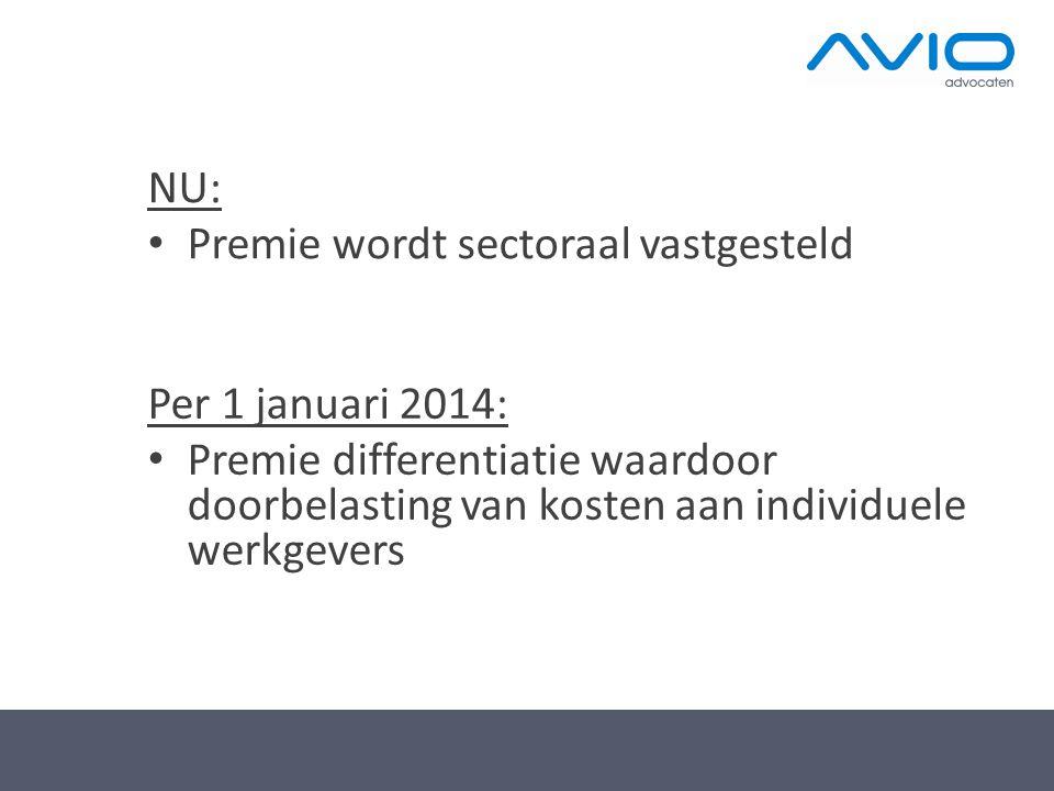 NU: Premie wordt sectoraal vastgesteld.