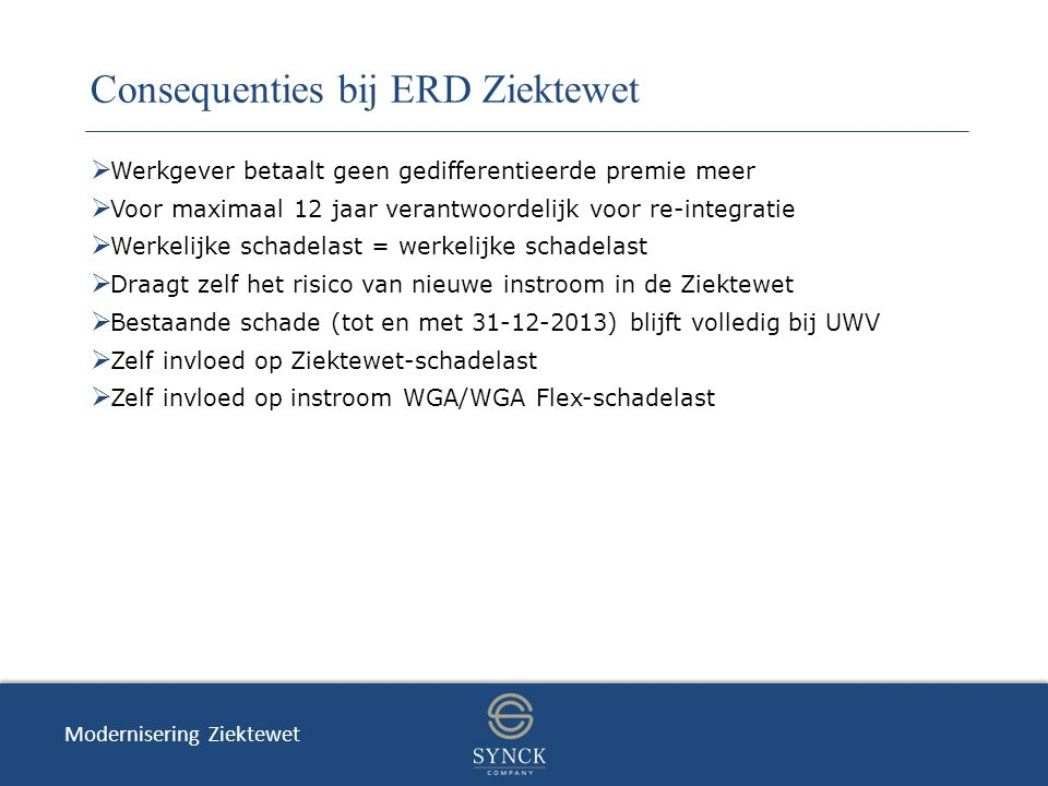 Consequenties bij ERD Ziektewet