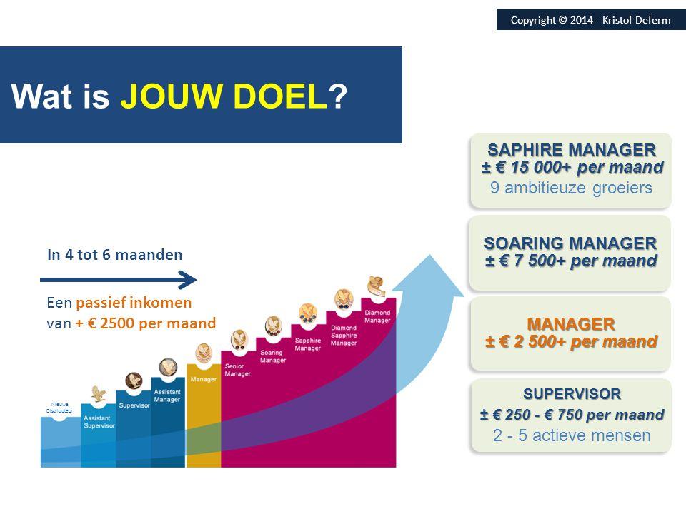 Wat is JOUW DOEL SAPHIRE MANAGER ± € 15 000+ per maand