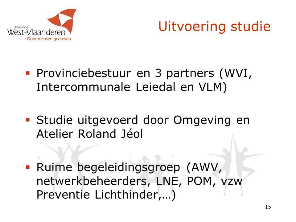 Uitvoering studie Provinciebestuur en 3 partners (WVI, Intercommunale Leiedal en VLM) Studie uitgevoerd door Omgeving en Atelier Roland Jéol.