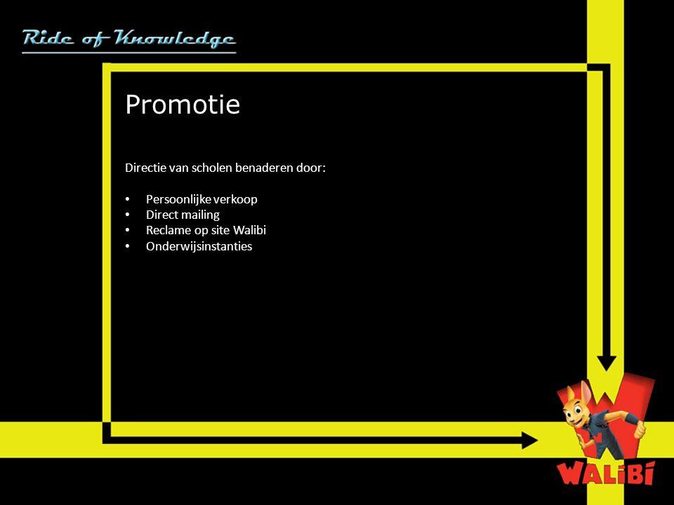 Promotie Directie van scholen benaderen door: Persoonlijke verkoop