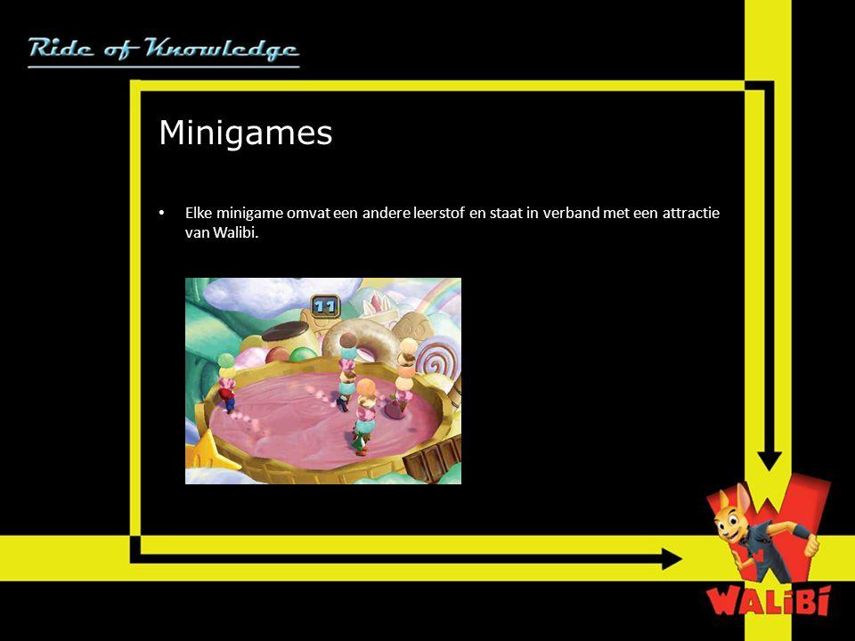 Minigames Elke minigame omvat een andere leerstof en staat in verband met een attractie van Walibi.
