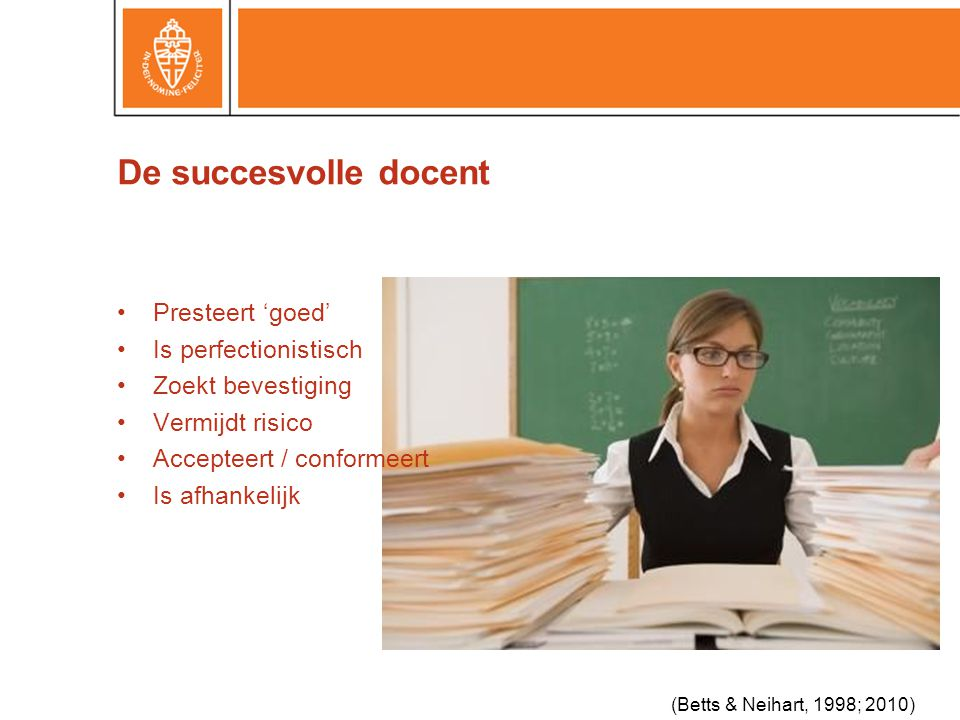 De succesvolle docent Presteert 'goed' Is perfectionistisch