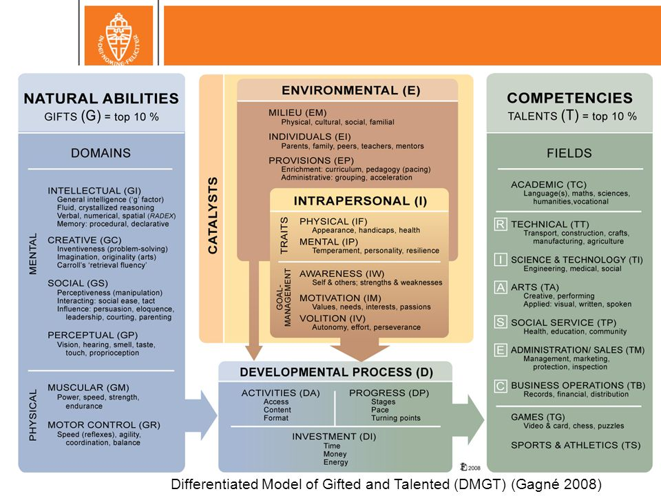 Differentiated Model of Gifted and Talented (DMGT) (Gagné 2008)