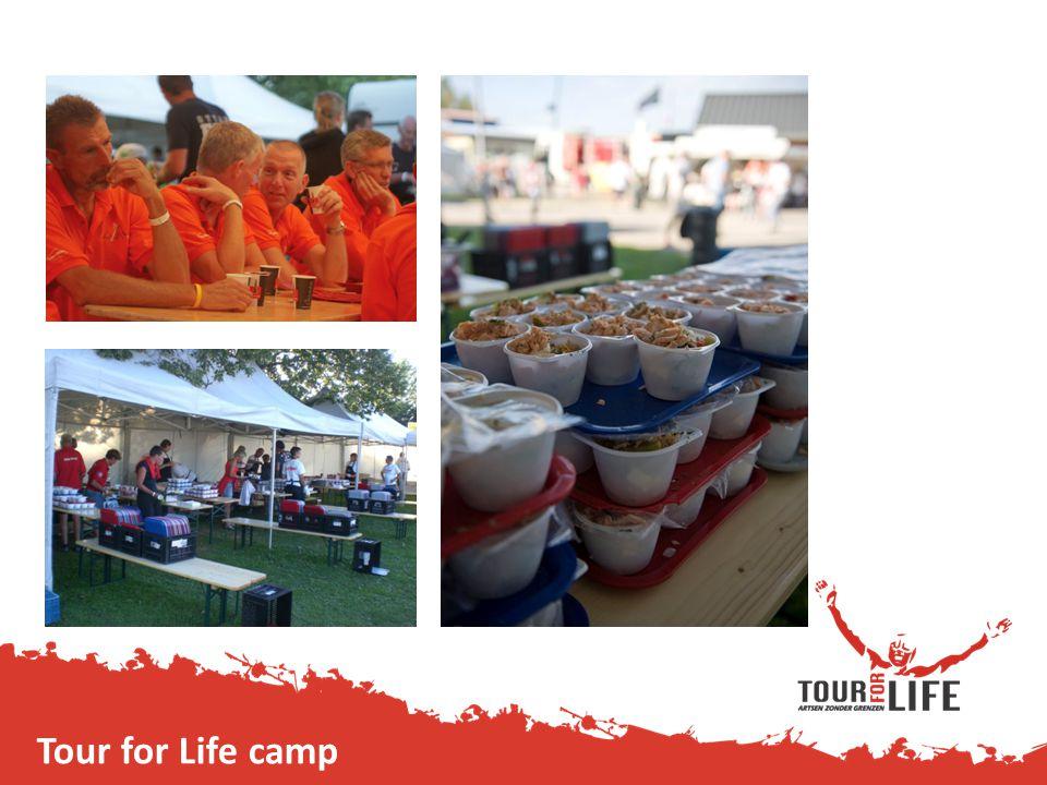 Ontbijt en avondeten Tour for Life camp