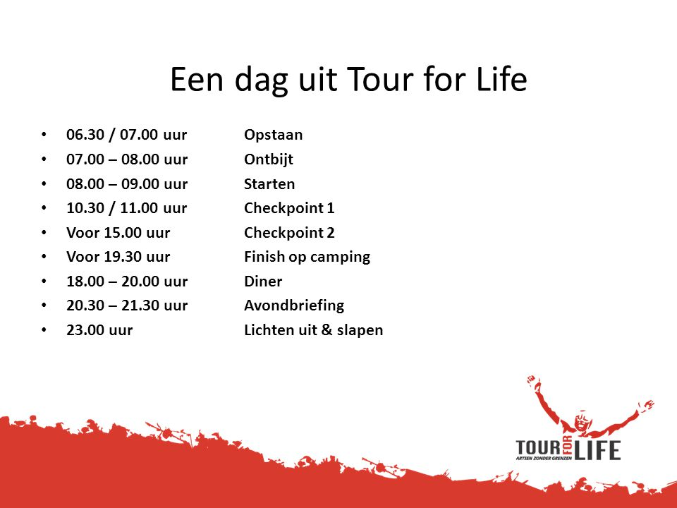Een dag uit Tour for Life