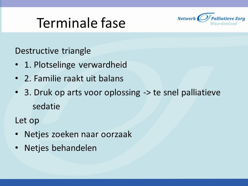 Terminale fase Destructive triangle 1. Plotselinge verwardheid
