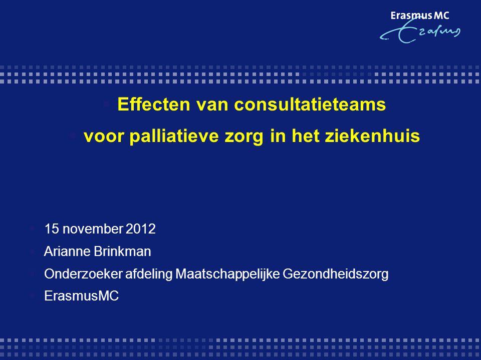 Effecten van consultatieteams voor palliatieve zorg in het ziekenhuis