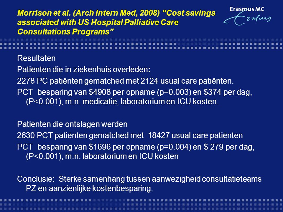 Morrison et al. (Arch Intern Med, 2008) Cost savings associated with US Hospital Palliative Care Consultations Programs