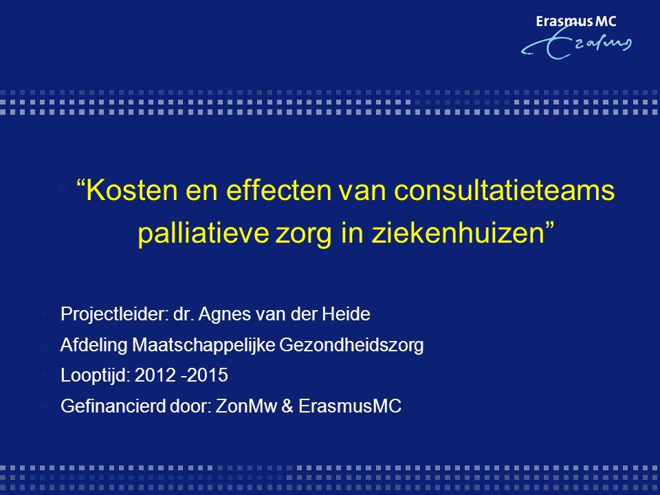 Kosten en effecten van consultatieteams palliatieve zorg in ziekenhuizen