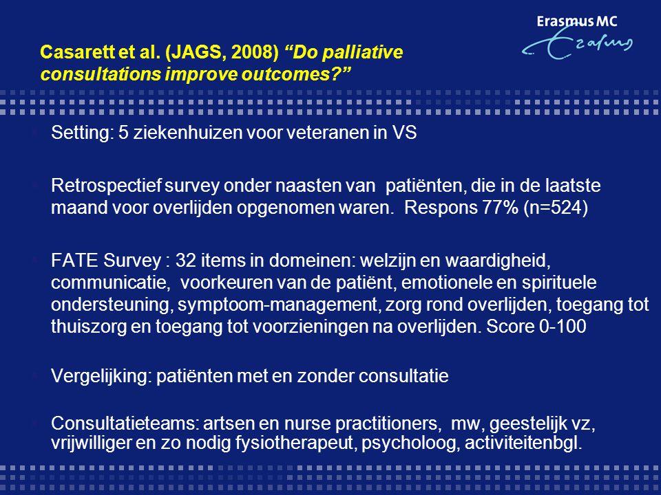 Casarett et al. (JAGS, 2008) Do palliative consultations improve outcomes