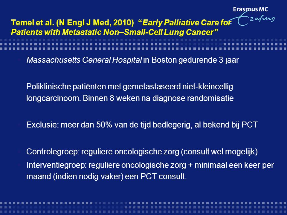 Temel et al. (N Engl J Med, 2010) Early Palliative Care for Patients with Metastatic Non–Small-Cell Lung Cancer