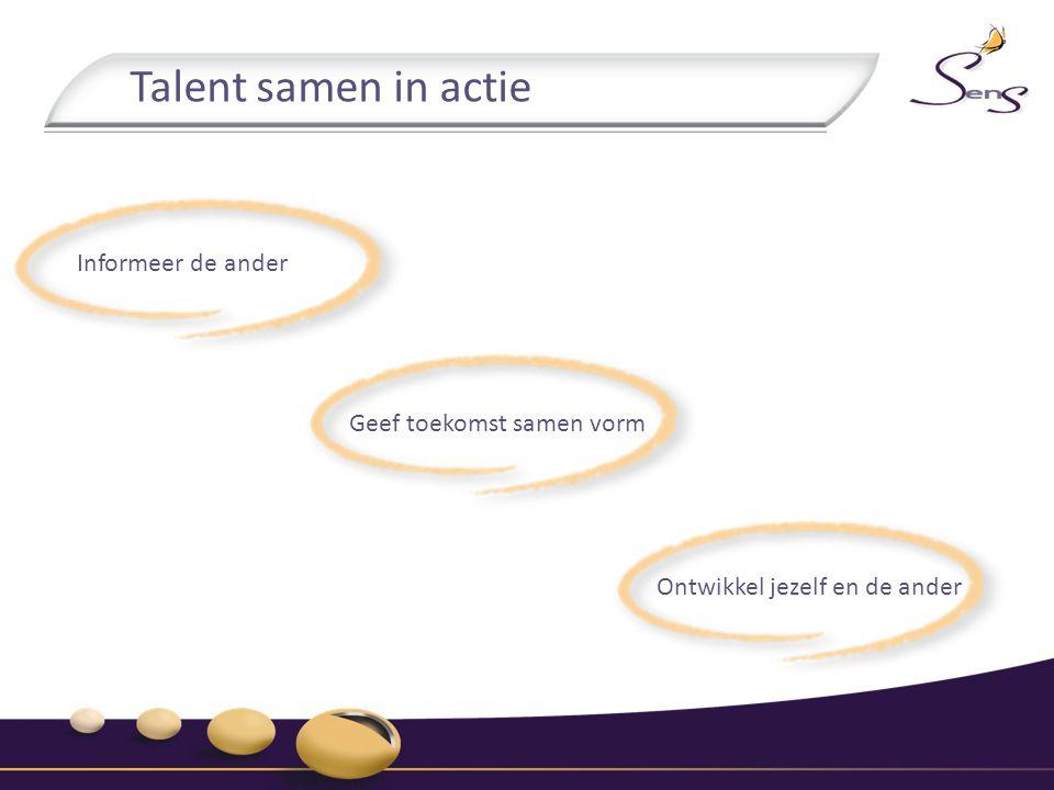 Talent samen in actie Informeer de ander Geef toekomst samen vorm