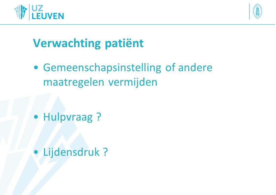 Verwachting patiënt Gemeenschapsinstelling of andere maatregelen vermijden.