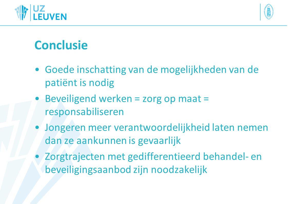 Conclusie Goede inschatting van de mogelijkheden van de patiënt is nodig. Beveiligend werken = zorg op maat = responsabiliseren.