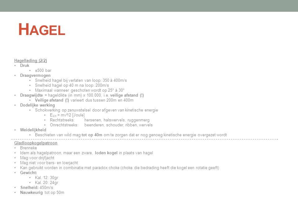 Hagel Hagellading (2/2) Druk ±500 bar Draagvermogen