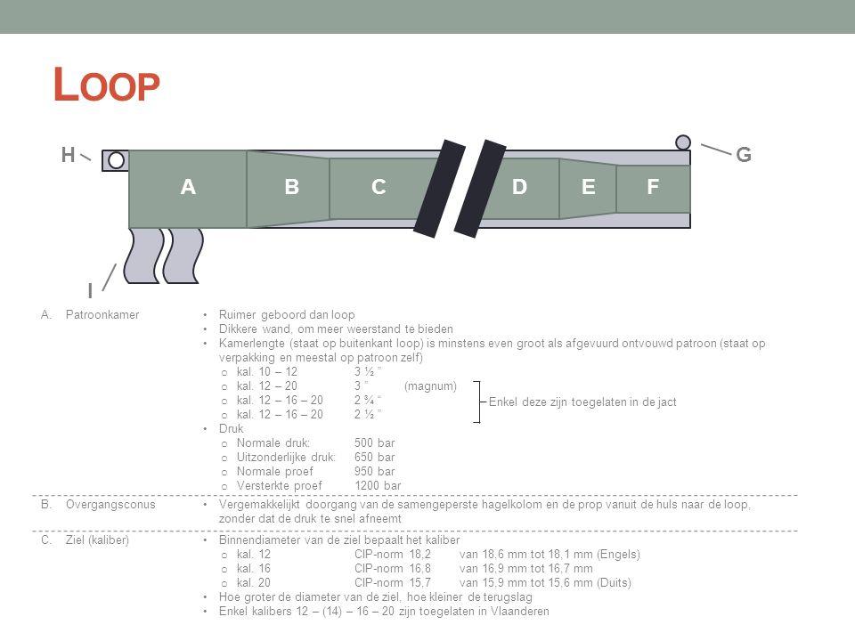 Loop H G A B C D E F I A. Patroonkamer Ruimer geboord dan loop