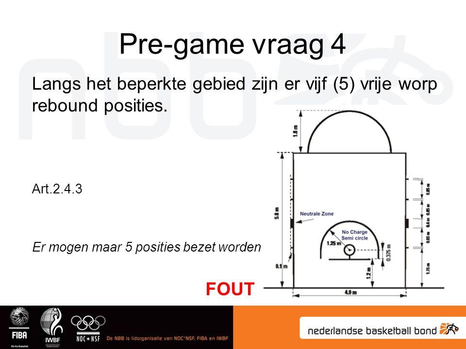 Pre-game vraag 4 Langs het beperkte gebied zijn er vijf (5) vrije worp rebound posities. Art.2.4.3.