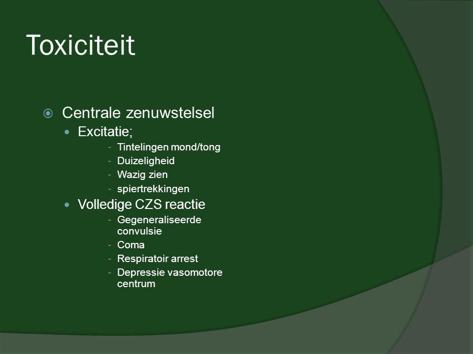 Toxiciteit Centrale zenuwstelsel Excitatie; Volledige CZS reactie