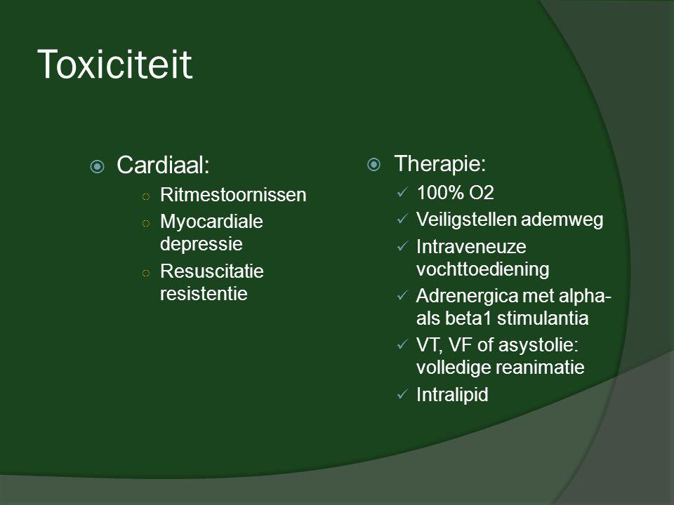 Toxiciteit Cardiaal: Therapie: Ritmestoornissen 100% O2