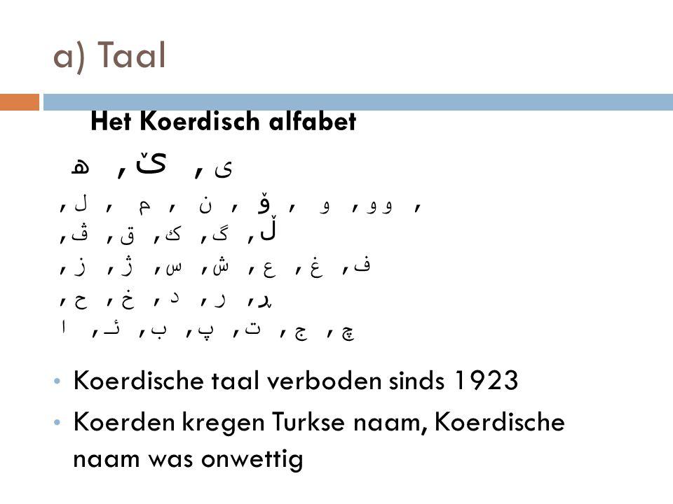 a) Taal ى, ێ, ﮪ Het Koerdisch alfabet