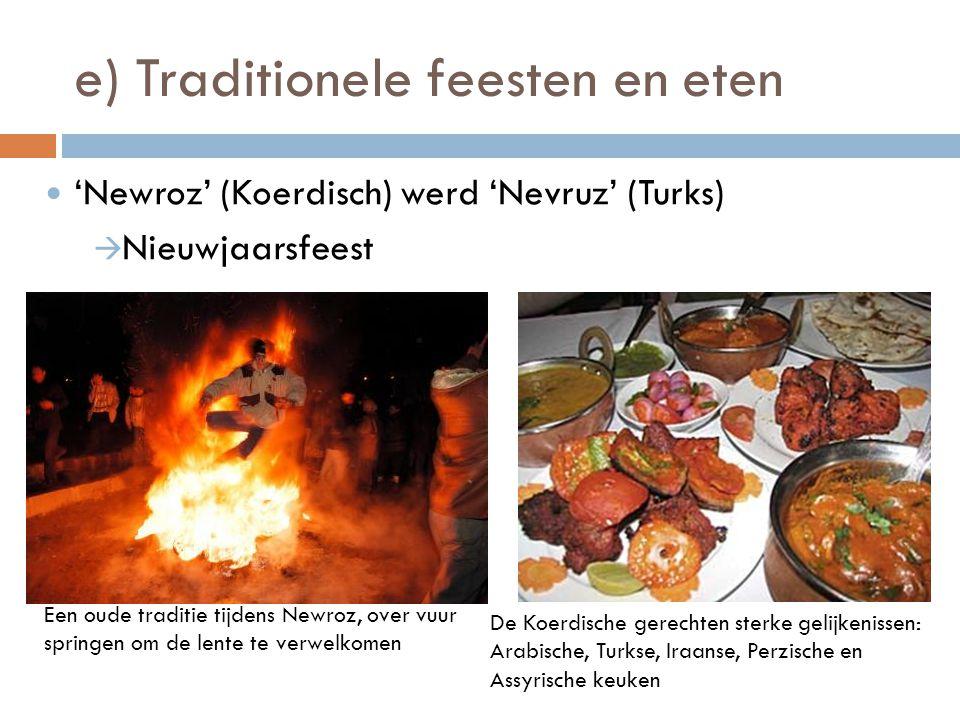 e) Traditionele feesten en eten