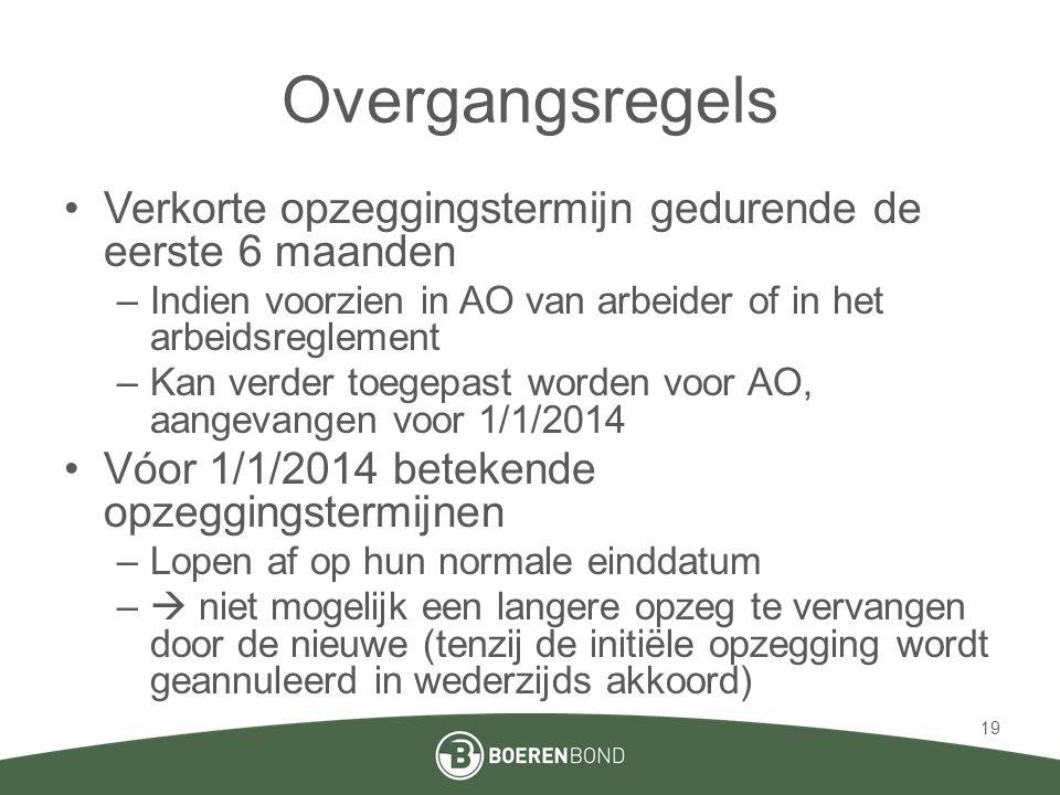 Overgangsregels Verkorte opzeggingstermijn gedurende de eerste 6 maanden. Indien voorzien in AO van arbeider of in het arbeidsreglement.