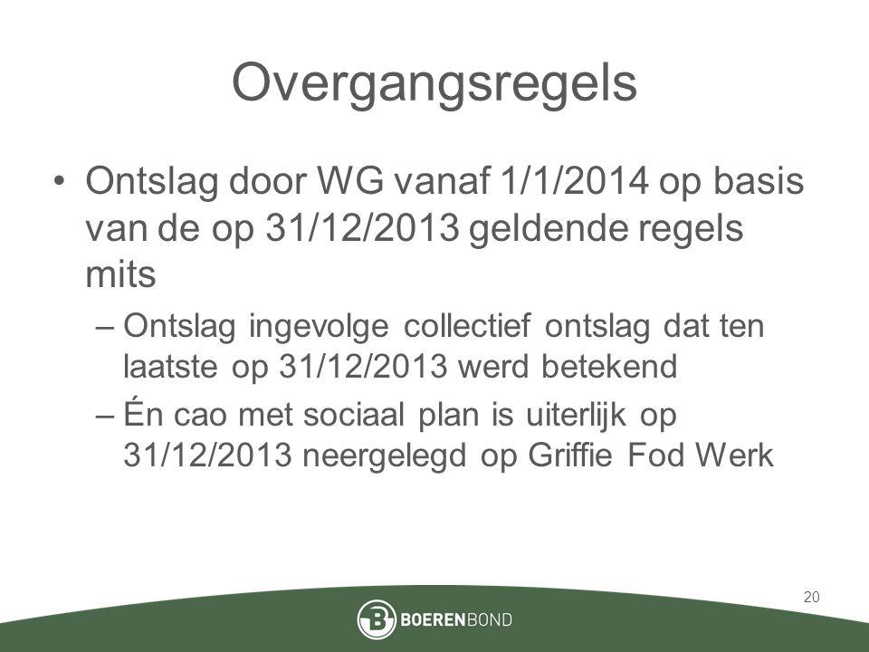 Overgangsregels Ontslag door WG vanaf 1/1/2014 op basis van de op 31/12/2013 geldende regels mits.