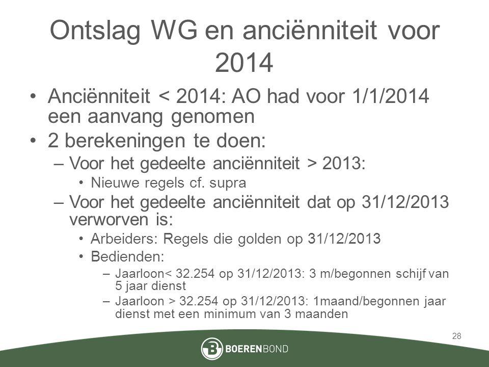 Ontslag WG en anciënniteit voor 2014