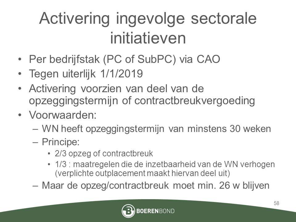 Activering ingevolge sectorale initiatieven