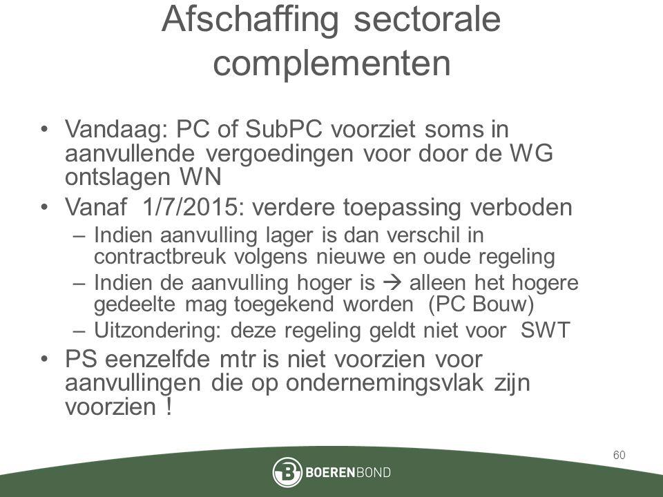Afschaffing sectorale complementen