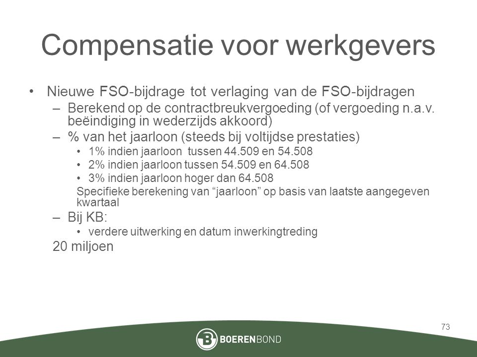 Compensatie voor werkgevers