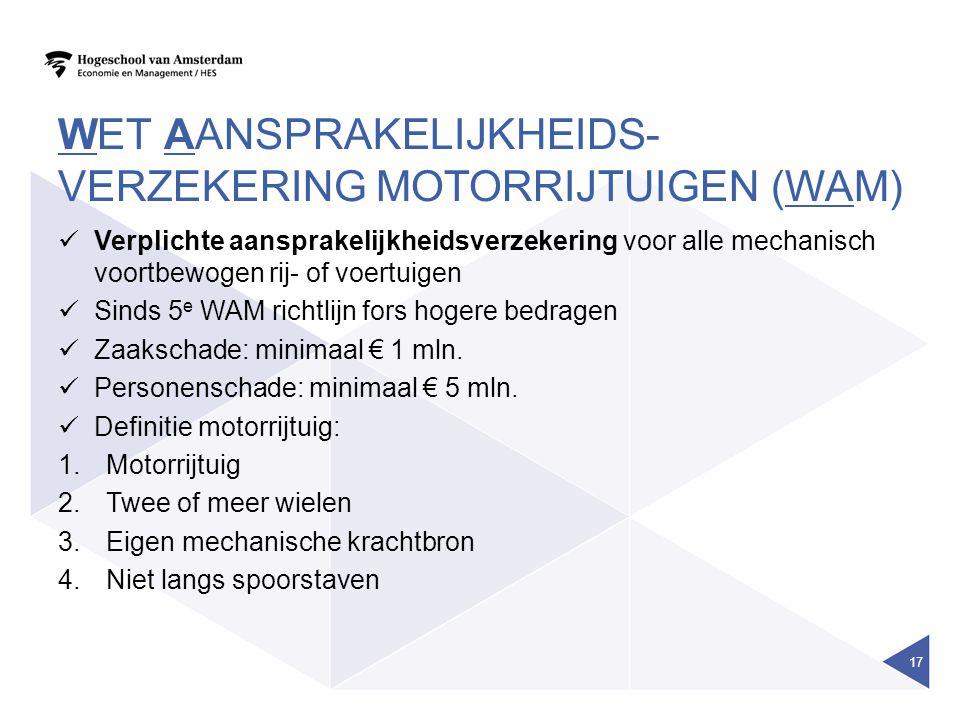 Wet aansprakelijkheids-verzekering motorrijtuigen (WAM)