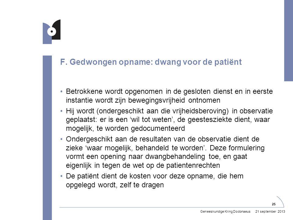 F. Gedwongen opname: dwang voor de patiënt