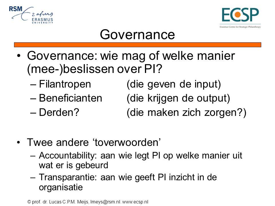 Governance Governance: wie mag of welke manier (mee-)beslissen over PI Filantropen (die geven de input)