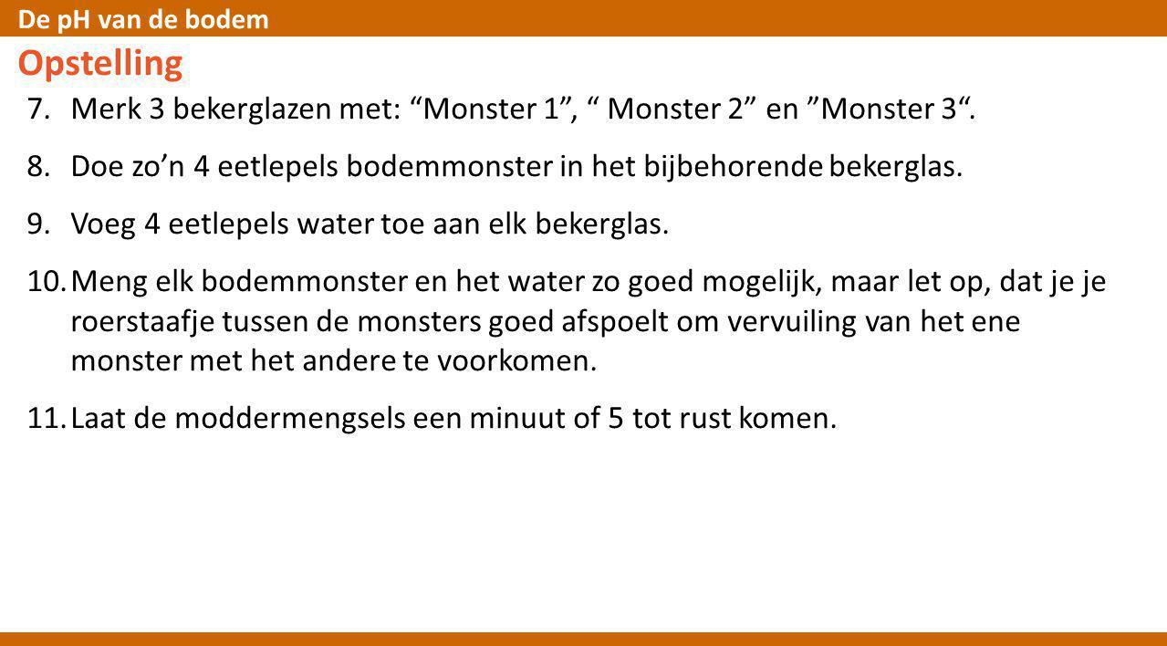 Opstelling Merk 3 bekerglazen met: Monster 1 , Monster 2 en Monster 3 . Doe zo'n 4 eetlepels bodemmonster in het bijbehorende bekerglas.